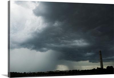 A stormy sky around the Washington Monument in Washington DC