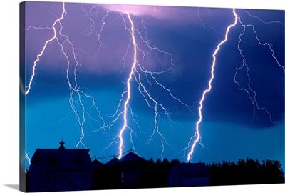 Lightning fills the night sky near Walton