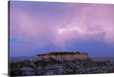 Lightning strikes in Wyoming's Red Desert, Adobe Town, Wyoming