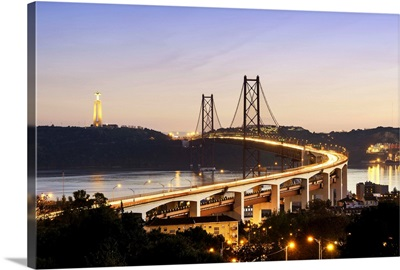 25 de April bridge across the Tagus river and Cristo Rei, Lisbon, Portugal