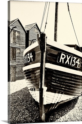 A Fishing Boat And The Net Shops, Hasting Old Town, Sussex, England