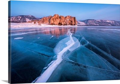 A Flat Ice With Cracks Of The Lake Baikal, Irkutsk Region, Siberia, Russia