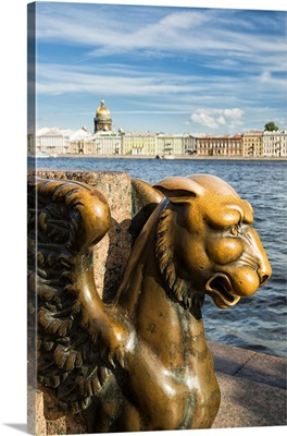 A griffin on the University Embankment, Saint Petersburg, Russia