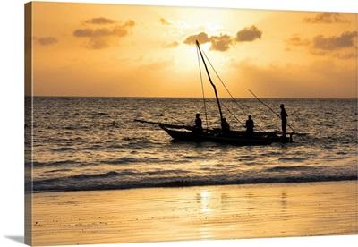 A Silhouette Of A Dhow At Sunrise, Matemwe, Zanzibar, Tanzania