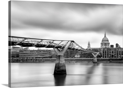 A View Towards The Millennium Bridge And St Paul's Cathedral, London, England