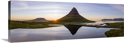 Aerial drone view of mount Kirkjufell at sunset, Snaefellsnes peninsula, Iceland