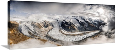 Aerial Panoramic Of Gorner Glacier, Zermatt, Canton Of Valais, Switzerland