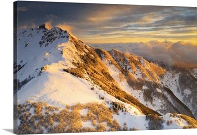 Aerial Sunset In Winter Time, Tuscan-Emilian Apennine National Park, Sassalbo, Italy