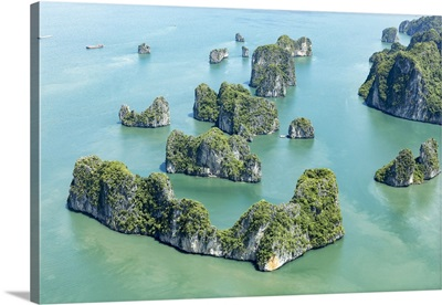 Aerial view of Karst islands, Halong Bay, North-East Vietnam, South-East Asia