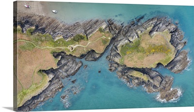 Aerial View Of Sexton's Burrow Headland At Watermouth Cove, Devon, England, Spring, 2021