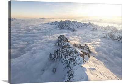 Aerial View Of Snowy Peaks Of Mont Blanc During Sunrise, Courmayeur, Italy, Europe