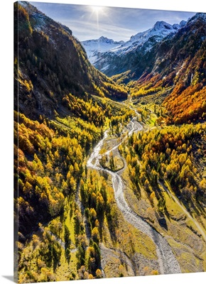 Aerial View Of Wild Torrent In Autumn, Bodengo Valley, Valtellina, Lombardy, Italy