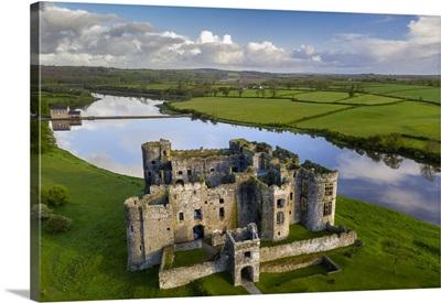 Aerial Vista Of Carew Castle In Pembrokeshire Coast National Park, Wales, UK