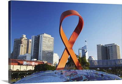 AIDS ribbon sculpture downtown, Durban, KwaZulu-Natal, South Africa