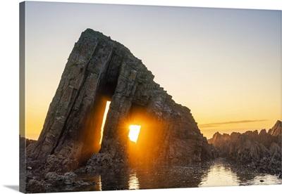 Albuerne, Asturias, Spain, Playa De Los Campizales At Sunset