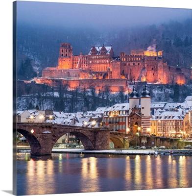 Alte Brucke (Old Bridge) And Castle In Winter With Neckar River, Heidelberg, Germany