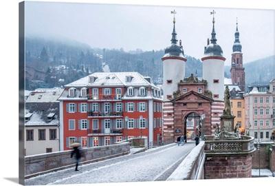 Alte Brucke (Old Bridge) In Winter, Heidelberg, Baden-Wurttemberg, Germany