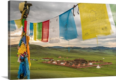 Amarbayasgalant Monastery From Above Framed By Prayer Flags, Mount Buren-Khaan, Mongolia