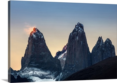 Americas, South America, Chile, Patagonia, The Torres Del Paine Mountains At Sunset