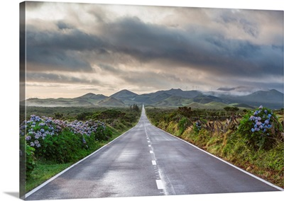 An Empty And Solitary Road. Pico Island, Azores Islands, Portugal