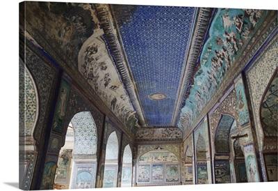 Ancient murals in Chitrasala, Bundi Palace, Bundi, Rajasthan, India