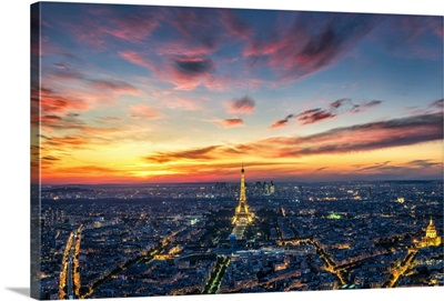 Arial view of Paris during sunset, Paris, France