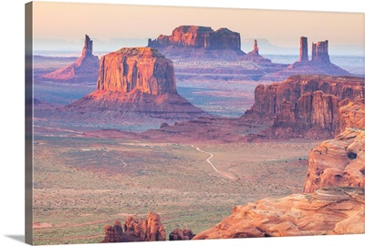 Arizona, View over Monument Valley from the top of Hunt's Mesa