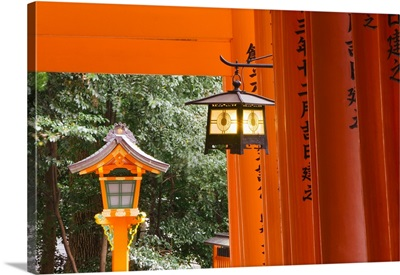 Asia, Japan, Fushimi-Inari Taisha shrine, Lantern hanging between torii gates
