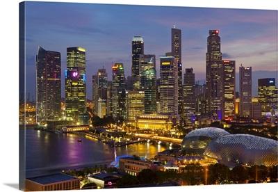 Asia, Singapore, Skyline, Financial district illuminated at dusk