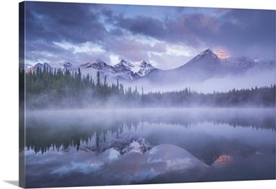 Atmospheric Misty Sunrise, Banff National Park In The Canadian Rockies, Alberta, Canada