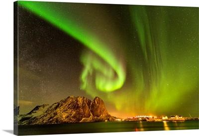 Aurora Over Mountains, Lofoten Islands, Norway