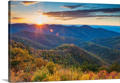 Autumn Sunset, Blue Ridge Mountains, Shenandoah National Park, Virginia, Usa