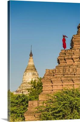 Bagan, Mandalay region, Myanmar, A young monk watching the Shwesandaw pagoda