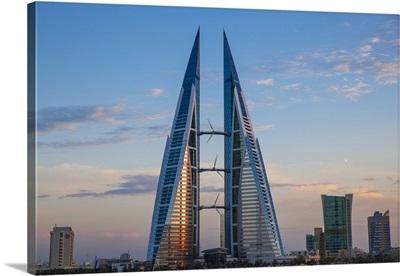 Bahrain, Manama, Bahrain Bay, Bahrain World Trade Center and city skyline