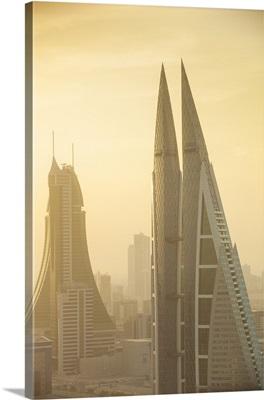 Bahrain, Manama, City center skyline looking towards Bahrain World Trade Center