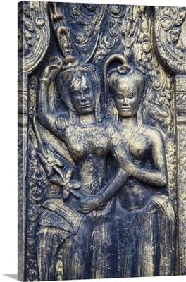 Bas-relief at Wat Phnom, Phnom Penh, Cambodia