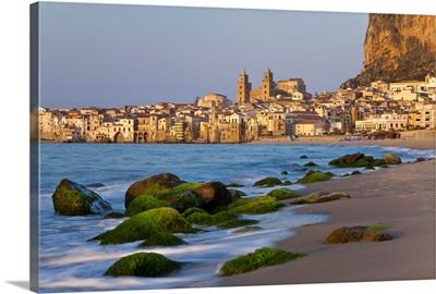 Beach at sunset, Cefalu, North coast, Sicily