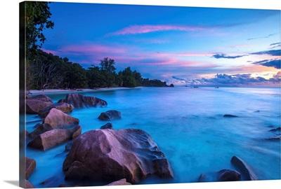 Beach at sunset, La Digue, Seychelles