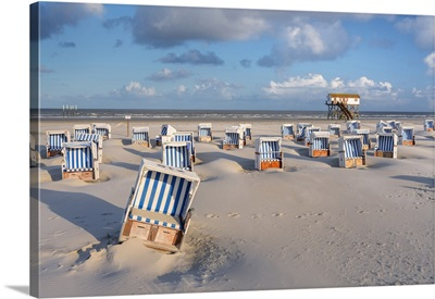 Beach Chairs And Stilt House At Beach, Sankt Peter-Ording, Wadden Sea, Germany