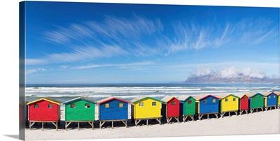 Beach huts on Muizenberg beach, Cape Town, Western Cape, South Africa