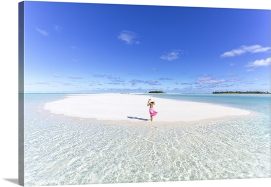 Beautiful Woman On Tropical Beach Honeymoon Island Aitutaki Cook Islands
