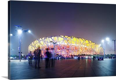 Beijing, China. Olympic park, National Stadium (called the bird's nest) at night
