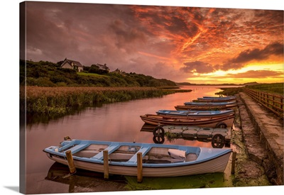 Boats At Sunset, Co, Donegal, Ireland