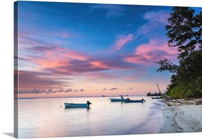 Boats At Sunset, La Digue, Seychelles