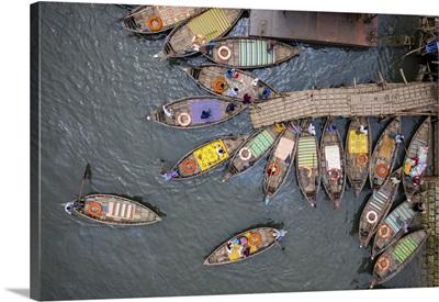 Boats Shape Like Petals Of A Flower, Dhaka, Bangladesh