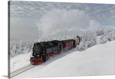 Brockenbahn On The Way To The Winter Snow-Covered Brocken, Harz, Schierke, Germany