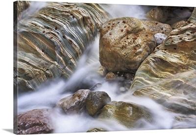 Brook Gorge With Rocks, Austria, Carinthia, Hermagor, Garnitzenklamm, Alps, Gailtal Alps