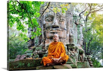 Buddhist Monk In Saffron Robes Meditating, Angkor Temples, Siem Reap, Cambodia