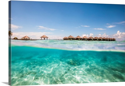 Bungalows And Underwater Reef, Maldives