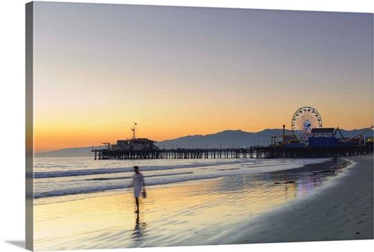 California, Los Angeles, Santa Monica Beach, Pier and Ferris Wheel ...